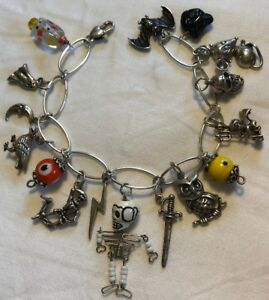 925 Sterling Silver Halloween Charm Bracelet with 16 Charms