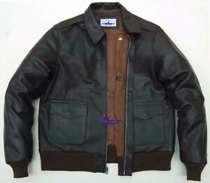 MEN A2 Real GOAT LEATHER JACKET AIRFORCE US PILOTS FLIGHT BOMBER WWII Dark Brown