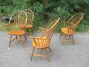4 WINDSOR Oak ARM CHAIRS S Bent Bros SADDLE SEATS Vintage DELIVERY  POSSIBILITY