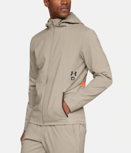 Jacket Under Armour 1320950 Man Storm Beige Sweatshirt Zip Hoodie Hood Sport Run