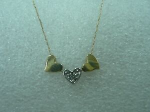 Beautiful 10K YellowWhite Gold Triple Heart Pendants Necklace with 20