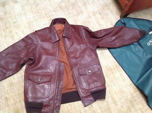 QUALITY Orvis Brown Genuine Lamb Leather Flight Bomber Jacket Men's Sz 38 excell