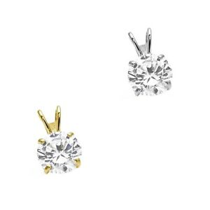 14ct-3.00ct Created Diamond Pendant 14K Solid Yellow Gold Solitaire Charm 4-9mm