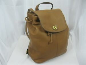 Coach F24385 Brown Leather Drawstring Turnlock Backpack