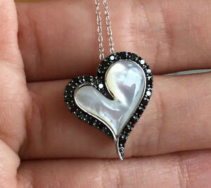 10k White Gold Heart Mother Of Pearl Black Diamond Pendant Necklace