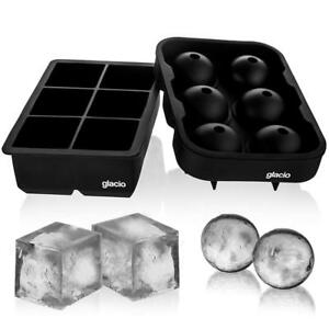 glacio Ice Cube Trays Silicone Combo Mold - Set of 2 Sphere Ball Maker with...