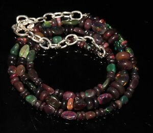 Chain  strand100% Natural Ethiopian Fire Opal Black Tumble & Roundell Beads  .