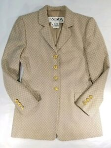 Escada Designer Margaretha Ley Jacket Blazer 100% New Wool 36 Career Gold Button