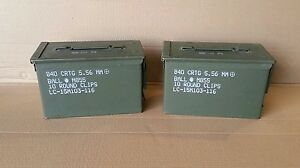 (1 PAIR) US Military SURPLUS 50 CAL M2A1 * M2A2 Ammo Cans Boxes .50 Caliber 9MM