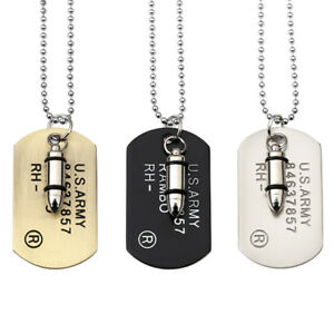 Fashion Men Military Army Bullet Charm Dog Tags Chain Pendant Necklace Jewelry