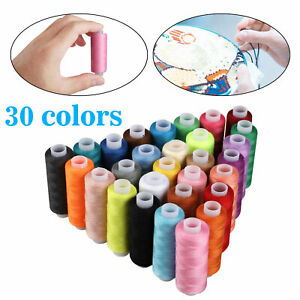 Polyester Sewing Thread Spools Set For Sewing Machine Line 30 Colors 250 Yards $14.48