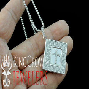14k White Gold On Silver Religious Bible Book Charm Pendant Necklace Chain Set