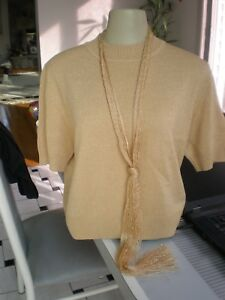 St. John BASICS size M Gold Lurex Knit Top Sweater CAMI  Shirt WITH GOLD SCARF