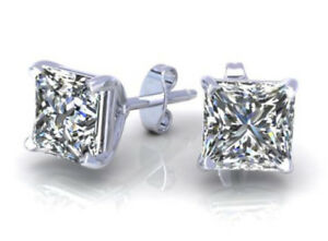 3.15Ct Solitaire Princess Cut Stud Earrings Lab Diamond 14K White Gold Screwback