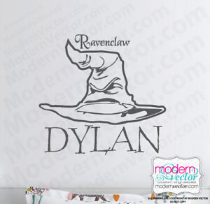 Personalized Harry Potter Sorting Hat Name Vinyl Wall Decal