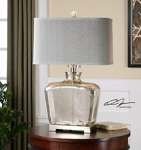 DESIGNER MERCURY GLASS TABLE LAMP PLATED NICKEL METAL