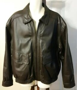 Members Only Dark Brown Soft Leather Bomber Lined Jacket Coat Men's Size XXL