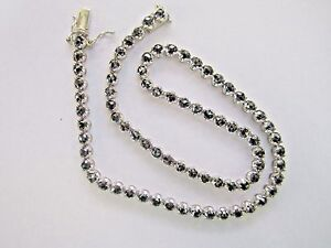 * 585 14K 14KT WHITE GOLD BLACK DIAMOND NECKLACE 15CTS OF DIAMONDS ROSE CUT