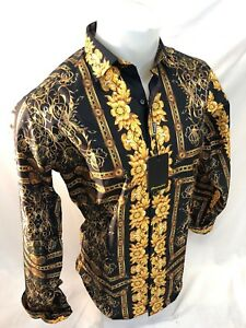 Mens PREMIERE Long Sleeve Button Down Dress Shirt BLACK GOLD LEAF ABSTRACT 208