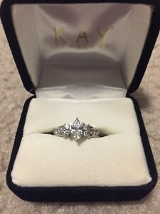 34 Carat Marquise Cut Diamond Round Accented Engagement Ring In White Gold