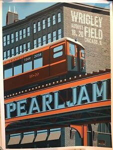 Pearl Jam Wrigley Field Chicago Steve Thomas Poster Print SHOW EDITION L Train