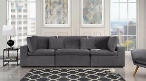 Large Classic Living Room Sofa Plush Velvet 3 Seater Couch Grey
