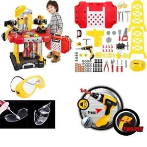 110 Pieces Construction Toy Workbench With Tool Drill And Helmet For Toddlers
