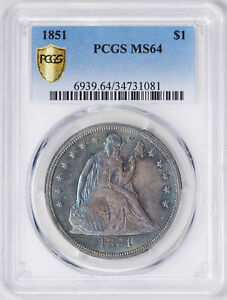 1851 LIBERTY SEATED S$1 PCGS MS 64