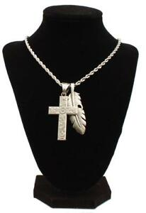 Twister Western Jewelry Mens Necklace Cross Feather Silver 32140