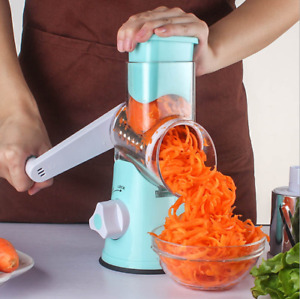 Manual Vegetable Mandoline Slicer Fruit Cutter Salad Shredder Rotary Drum Grater