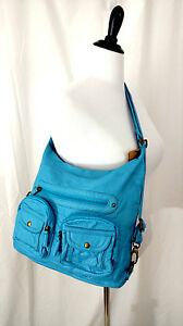 Backpack Handbag Convertible Crossbody Buttery Soft Leather Turquoise Blue