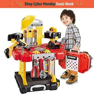 Young Choi's Kids Construction Toy Workbench for Toddlers 110 Pieces Kids Pow...