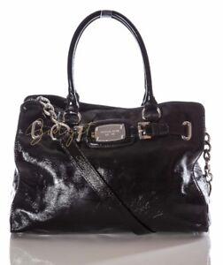Michael Kors Large Black Patent Leather HAMILTON Handbag
