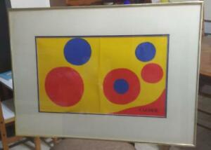 HTF Alexander Calder Framed Exhibition Litho Abstract Blue Red on Yellow $300.00