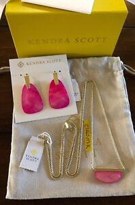 NWT Kendra Scott Set Dean Necklace & Marty Dangle Earrings Gold Magenta Pearl