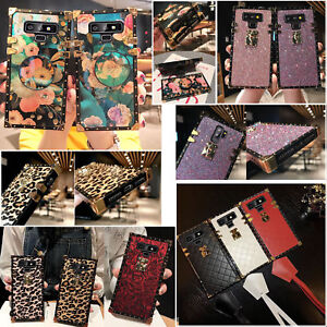 Luxury Bling Diamond Glitter Leopard Square For Galaxy S9 S8 Note9 Case Cover GBP 7.98