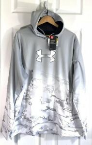Under Armour Cold Gear Caliber Snow Camo Hoodie Gray White Size 2XL XXLarge XXL