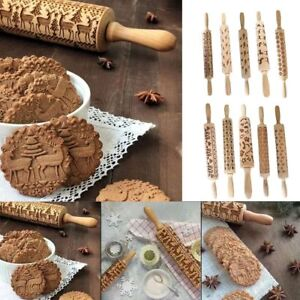 Wooden Rolling Pin Embossing Baking Cookie Engraved Roller Reindeer Kitchen Tool