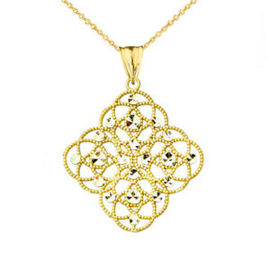 14k Yellow Gold Handmade Designer Boho Chic Statement Pendant Necklace