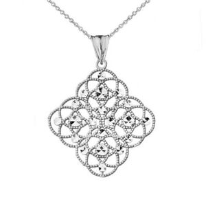 14k White Gold Handmade Designer Boho Chic Statement Pendant Necklace
