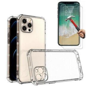 Case and 2PK Screen Protectors for iPhone XR X Xs Max 6 6S 7 Plus 8 Plus Clear