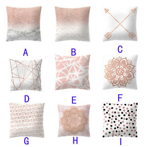 Rose Gold Pink Office Car Cushion Cover Square Pillowcase Home Decoration CASE 9