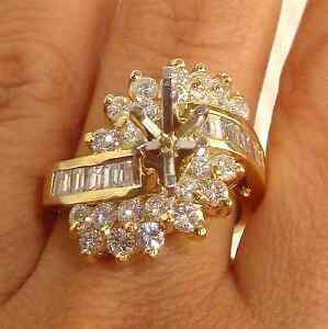 Stunning 2.25ct Rond Baguette Diamond Solid 14K Y Gold Semi Mounting Ring