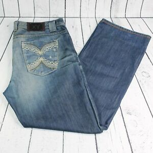 XY Mens 40 X 34  Distressed Blue Denim Designer Embroidered Pockets XRAY Jeans