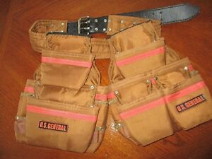 General Construction Tool Belt Carpenter With Pockets Pouches Bags +  NEW