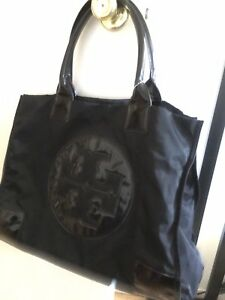 Tory Burch Ella Nylon patent Leather Tote Handbag  Large Black $198