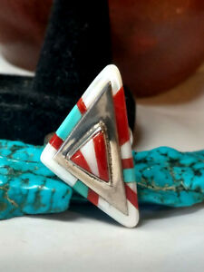 NAVAJO STERLING SILVER CORAL TURQUOISE MOP TRIANGLE STATEMENT RING 925