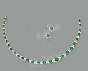 4.08ctw NATURAL ROUND DIAMOND EMERALD 14K SOLID WHITE GOLD WEDDING NECKLACE SET