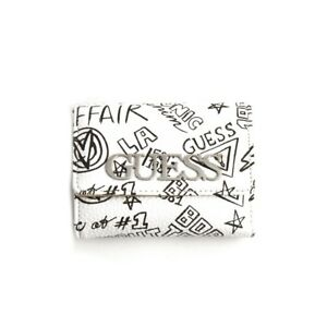 Women's wallet Guess woman eco-leather white black graffiti cardcase coin purse