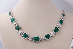 12.33cts DIAMOND EMERALD 14K SOLID WHITE GOLD WEDDING ANNIVERSARY NECKLACE